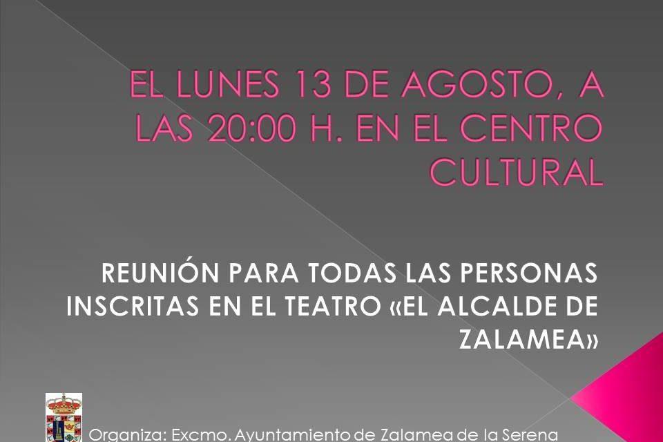 Reunión dia 13 de agosto para los participantes del Teatro