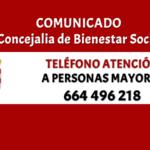 Se habilita un telefóno de la Concejalia de Bienestar Social para atención a personas mayores