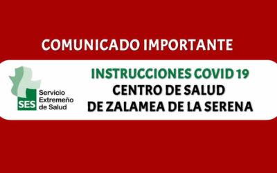 COMUNICADO Centro de Salud de Zalamea de la Serena