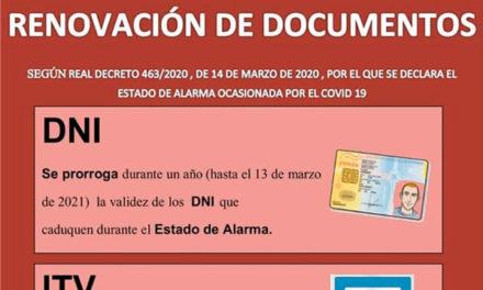 Renovación de Documentos durante el estado de alarma Covid-19