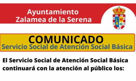 El Servicio Social de Atención Social Básica continuará con la atención al público los martes, miércoles y jueves, de 10 a 13 Horas