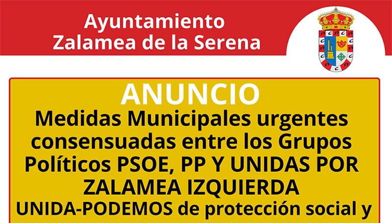 Medidas Municipales urgentes consensuadas entre los Grupos Políticos PSOE, PP Y UNIDAS POR ZALAMEA IZQUIERDA UNIDA-PODEMOS de protección social y estímulo económico ante la crisis de COVID-19.