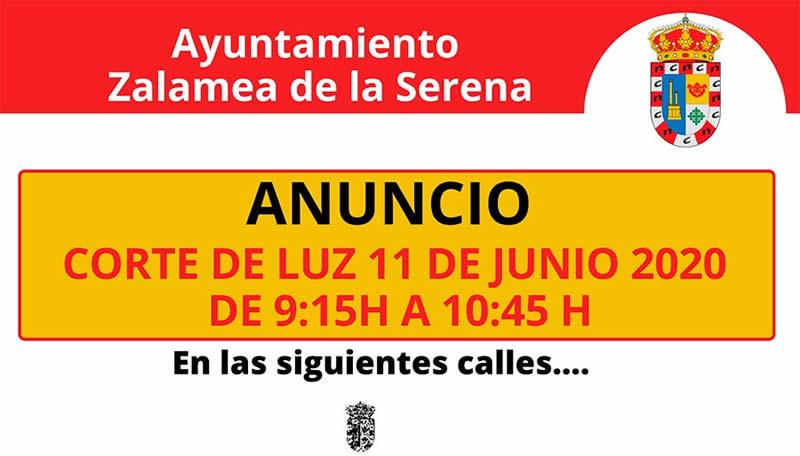 ANUNCIO Corte de Luz día 11 de junio 2020 de 9:15 h a 10:45 h