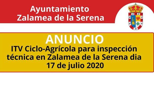 ITV Ciclo-Agrícola para inspección técnica en Zalamea de la Serena dia 17 de julio 2020