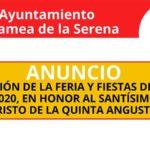Suspensión de la Feria y Fiestas de la Cruz 2020, en Honor al Santísimo Cristo de la Quinta Angustia.