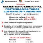 Horarios y Medidas Cementerio Municipal Festividad de Todos los Santos y Difuntos