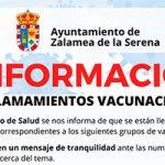 Llamamiento vacunación zalamea de la serena