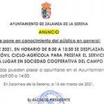 Estación ITV Móvil Ciclo-Agrícola en Zalamea de la Serena dia 30 de ABRIL 2021
