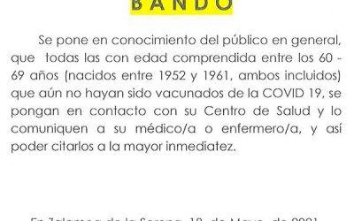 BANDO INFORMACIÓN VACUNAS COVID-19 PERSONAS ENTRE LOS 60 – 69 AÑOS
