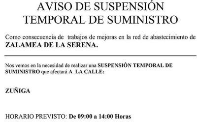 Aqualia informa: AVISO DE SUSPENSIÓN TEMPORAL DE SUMINISTRO en C/ZUÑIGA  DÍA 11 mayo 2021