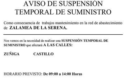 Aqualia informa: SUSPENSIÓN TEMPORAL DE SUMINISTRO EN C/ZUÑIGA Y CASTILLO DÍA 2 JUNIO 2021