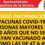 VACUNAS COVID-19 PERSONAS MAYORES DE 50 AÑOS QUE NO SE HAYAN VACUNADO ASÍ COMO LAS DE 47 A 49 AÑOS PUEDEN PEDIR CITA