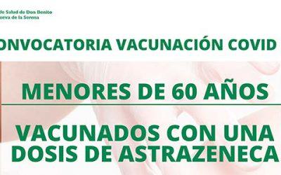Convocatoria vacunación COVID19 menores de 60 años vacunados con una dosis de ASTRAZENECA