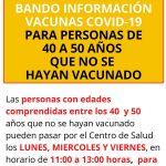 BANDO INFORMACIÓN VACUNAS COVID-19 PARA PERSONAS DE 40 A 50 AÑOS QUE NO SE HAYAN VACUNADO