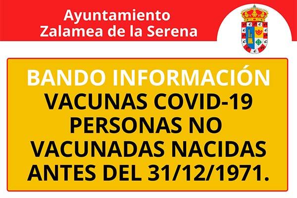 BANDO INFORMACIÓN VACUNAS COVID-19 PERSONAS NO VACUNADAS NACIDAS ANTES DEL 31/12/1971
