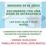 Convocatoria vacunación covid 19 menores de 60 años vacunados con una dosis de Astrazeneca los DÍAS 26,29 y 30 de marzo