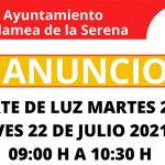 ANUNCIO: Corte de luz martes 20 y jueves 22 de julio de 2021 de 09:00 h a 10:30 h