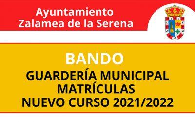 BANDO: Guarderia Municipal matriculas nuevo curso 2021/2022