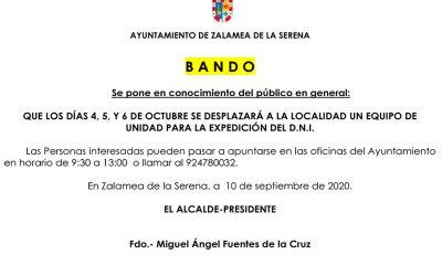 EXPEDICIÓN DE D.N.I. LOS DÍAS 4,5 Y 6 DE OCTUBRE EN ZALAMEA DE LA SERENA