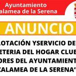 Abierto el plazo de licitación para la explotación y servicio de Bar-Cafetería del Hogar Club de Mayores del Ayuntamiento de Zalamea de la Serena.